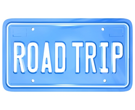 upcoming: A blue license plate with the words Road Trip symbolizing your upcoming travel for holiday or vacation or business purposes Stock Photo