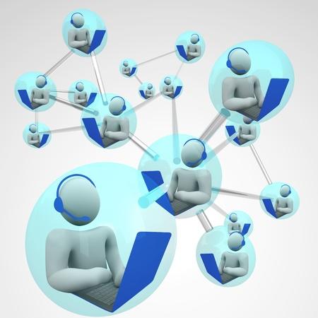 Een gekoppeld netwerk van mensen te communiceren via de computer VoIP-bellen-systemen, exploitanten met headsets en laptops te typen tijdens het praten