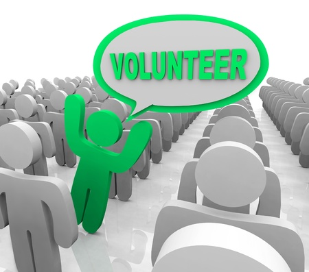 The word Volunteer in a speech bubble spoken by a person who is promoting volunteerism to help others in need Stock Photo - 10412149