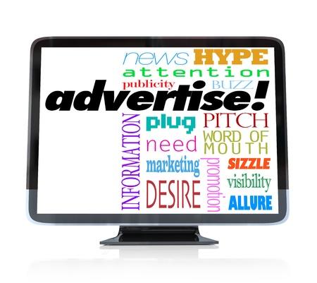 단어 광고와 같은 입,주의, 시정, 버즈, 과대 광고 등의 단어로 광고와 관련된 많은 다른 단어로 높은 정의 텔레비전 스톡 콘텐츠