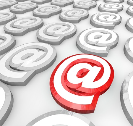 The E-mail At symbol representing messages sent via internet technologies to electronically forward a message to someone in your communication network Banque d'images
