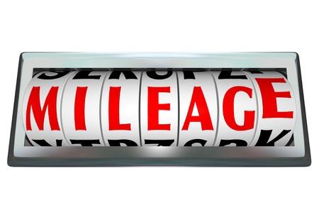kilometraje: Cartas sobre la marca del od�metro formar la palabra Kilometraje ilustra el seguimiento de las millas por gal�n y la eficiencia del combustible en un autom�vil o un veh�culo de motor con gasolina otros Foto de archivo
