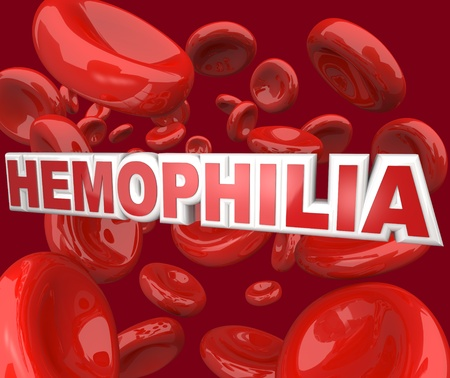 hemophilia: The word Hemophilia in 3D letters floating in an artery blood stream, representing the blood disorder or disease that affects people who cannot form clots to close wounds