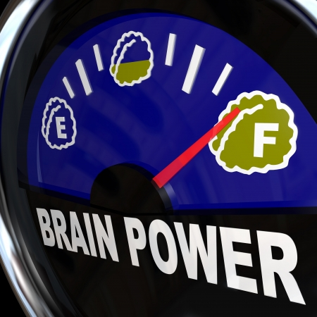 Une véhicule type jauge mesure votre montant de créativité, intelligence, agilité et la capacité mentale pour venir avec nouvelles idées et à atteindre le succès Banque d'images