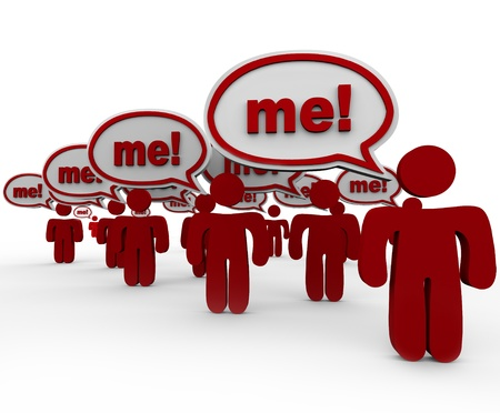 Pick or choose me, is the hope of many people standing together in the hope of getting your attention with speech bubbles and the word Me in each one Stock Photo