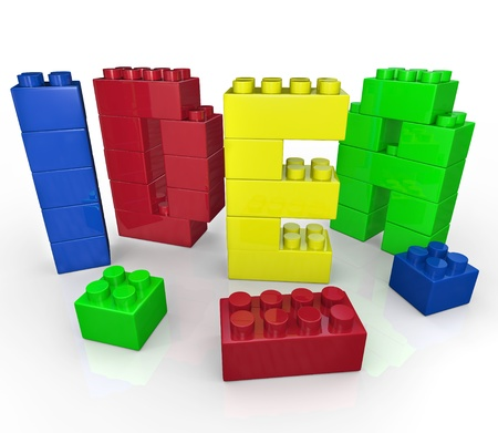innovative: The word Idea built with toy building blocks representing brainstorming and creative play to come up with innovative ideas to solve a problem