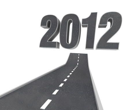 high end: The Road to 2012, a black asphalt pavement street arcs forward and upward to point to the numbers of the year, representing the future new year Stock Photo