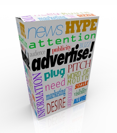 The word Advertise and many others representing commercial communication -- marketing, buzz, attention, audience, hype and more -- on a white product box