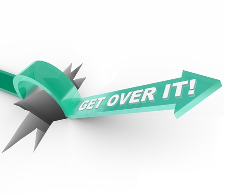 overcome a challenge: An arrow jumps over a hole, with the words Get Over It telling you to move past being down or depressed about a problem and moving on with your life Stock Photo