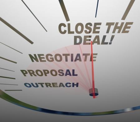 Un tachimetro con parole che illustrano le fasi di una vendita di successo - raggio di azione, proposta, negoziare e chiudere l'affare - che potete seguire per trasformare in una prospettiva un nuovo cliente