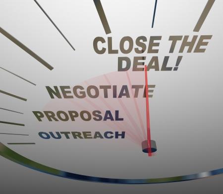 Un velocímetro con palabras que muestran los pasos de una venta exitosa - alcance, la propuesta, negociar y cerrar el acuerdo - que usted puede seguir para convertir una perspectiva en un nuevo cliente