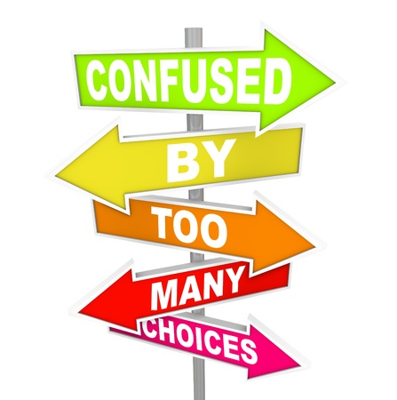 directional: Several colorful arrow street signs with the words Confused By Too Many Choices, illustrating the paralysis and immobility you can feel when suddenly facing a wide array of options to choose from Stock Photo