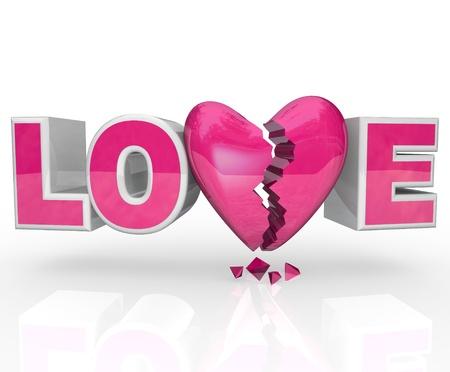 Het woord Liefde met een gebroken hart in plaats van de letter V die een break-up of opgelost relatie