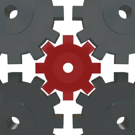 linking: Several cogwheel gears turning together, with one small red one in the center representing a different and unique part that is vital for success Stock Photo