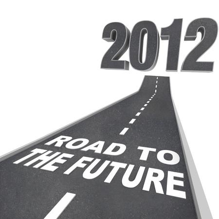 大きな 3d 図解数字と言葉の新しい年の始まりを象徴する未来への道をフィーチャー、それに通じる道で 2012 年 写真素材