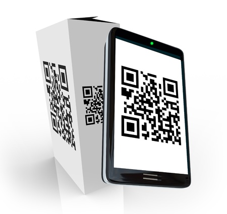 A modern smart phone scans the QR code on a product box to research information to decide whether to purchase or buy the item in a store Stock Photo - 10465605