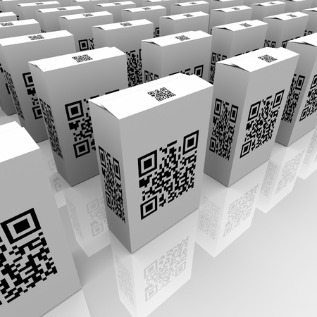 inventories: Many product boxes feature QR codes for scanning with a smart phone or other device, useful for detailed information or comparison of similar goods or merchandise in retail Stock Photo