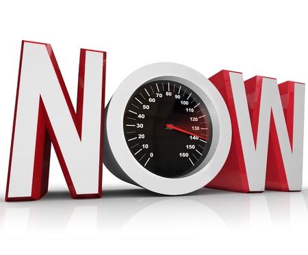Het woord nu met een snelheidsmeter in de letter o vertegenwoordigen een urgentie of noodsituatie voordoet en belangrijke moet slaan een termijn