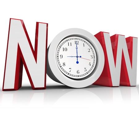 Het woord nu met een klok in de letter o vertegenwoordigen een urgentie of noodsituatie voordoet en belangrijke moet slaan een strakke deadline