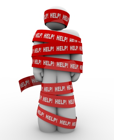 burocracia: A person is wrapped in red tape marked Help, representing getting caught in a problem or trouble and needing rescue to be freed from the tangled mess Banco de Imagens