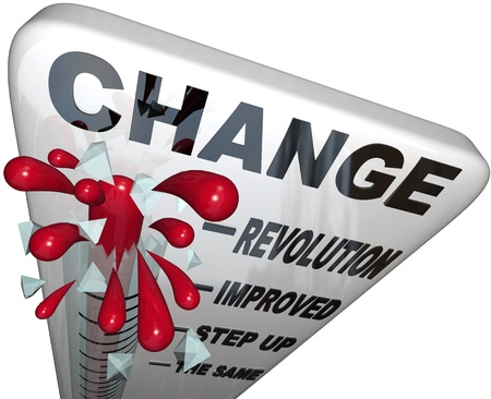 A thermometer marked Change measures the amount of changing and self improvement you successfully reach as you work toward achieving a goal Stockfoto