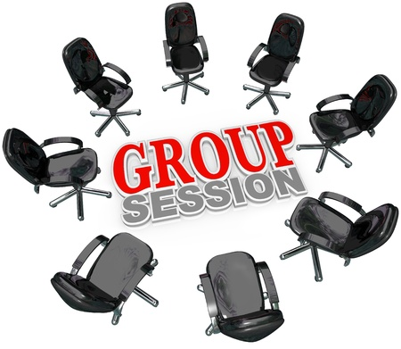 A number of chairs gathered in a circle around the words Group Session for a meeting or interaction with several people for therapy or business brainstorming or sharing ideas