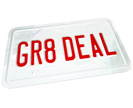 A license plate with the letters GR8 DEAL representing the savings you find on a great used or new vehicle while shopping for an automobile Stock Photo - 10530561