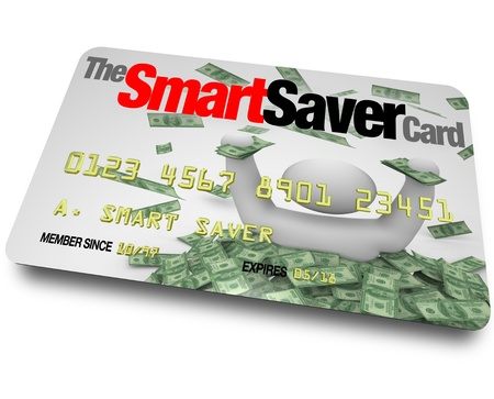 cheap prices: A credit card with the words Smart Saver Card which entitles you to great savings, discounts and cheap prices on merchandise you want