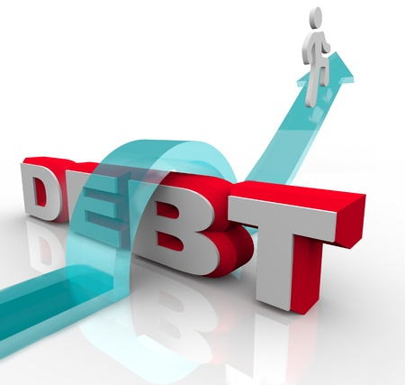financial obstacle: A man jumps over the word Debt on an arrow Stock Photo