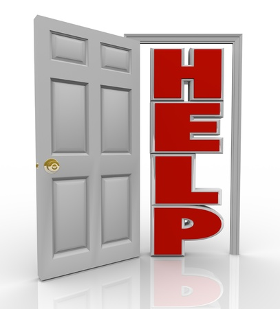A white door opens to reveal the word Help symbolizing the support and assistance you can receive by opening up to a friend, colleague or counselor who can assist you in your needs photo