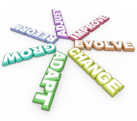evoluer: Plusieurs mots ayant � voir avec la modification - changement, adapter, r�former, s'adapter, se d�velopper et d'�voluer - symbolisent la n�cessit� d'apporter des changements � r�ussir dans une carri�re et dans la vie Banque d'images