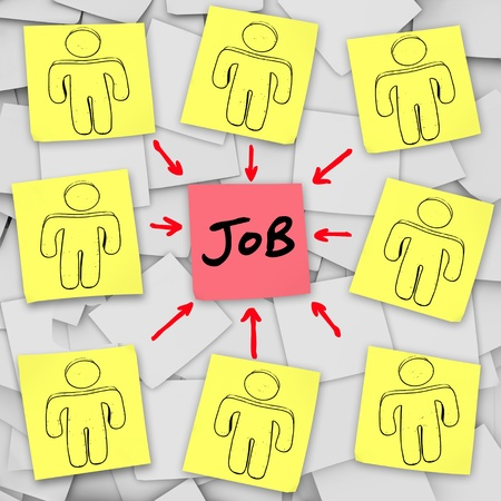 Several people out of work compete for a single available job in a crowded labor market symbolizing the cut-throat competition in the quest for a career
