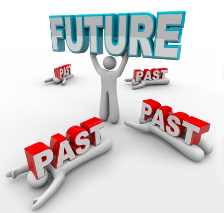 vision future: Een leider liften het woord toekomst, terwijl anderen met minder visie worden verpletterd door het woord uit het verleden, niet in staat of niet bereid om veranderingen te accepteren en daarom zijn achtergelaten door de opmars van vooruitgang