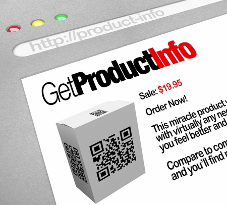 phone: A web browser window shows the Get Product Info, a QR barcode on a box that has been scanned by a smart phone or other mobile device by a customer