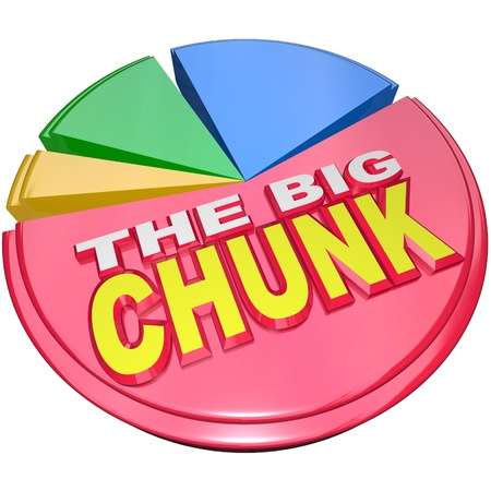 chunk: The largest slice of a 3D pie chart with the words The Big Chunk representing the biggest share of a divided result such as money, market share or other valuable object Stock Photo