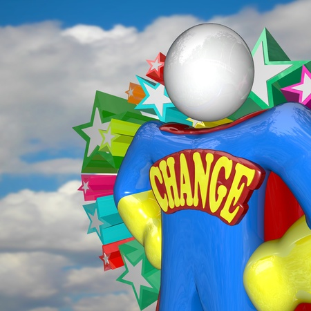 adapted: A superhero stands with the word Change as an emblem across his chest, looking to the future to lead a new era of adapting to a changing world and evolving to survive Stock Photo