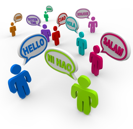 bonjour: Many people speaking and greeting each other in different international languages saying hello in their native tongues Stock Photo