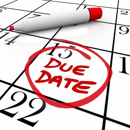 due date: The big Due Date day, the 15th,  circled on a white calendar with a red marker, as a reminder of the date your project must be completed and submitted or the date you expect to deliver your baby Stock Photo