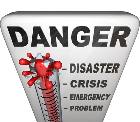 A thermometer topped with the word Danger measures the levels of a problem with the mercury rising past the marks for Problem, Emergency, Crisis and Disaster Stock Photo - 10622599