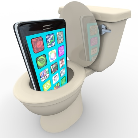 flushing: A smart phone with apps being flushed down a toilet symbolizing frustration with poor service, outdated and obsolete old model, in anticipation of replacement with new model cellphone