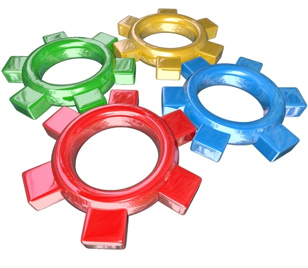 synergies: Four colorful gears -- one green, red, blue and gold -- turn in unison to symbolize synergy, cooperation, parternship and collaboration in working together to meet a goal or overcome a challenge Stock Photo