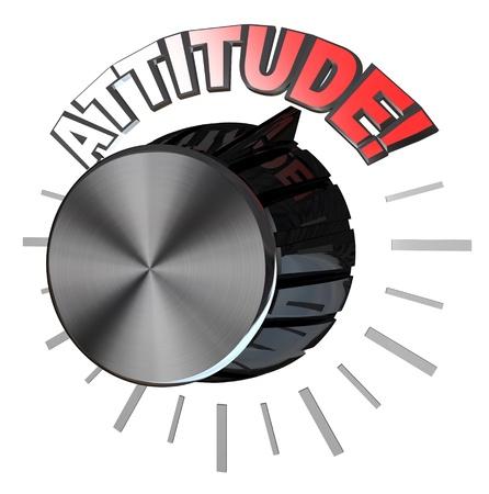 actitud positiva: Una perilla de volumen de tipo amplificador o altavoz con el puntero hacia la palabra actitud representan el nivel más alto de la actitud positiva que uno puede alcanzar para tener éxito en el cumplimiento de un objetivo Foto de archivo
