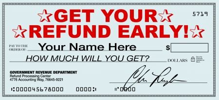 A tax refund check that you can receive early by using a tax return filing service that promises instant return of your overpaid taxes rather than waiting for the government response Stock Photo - 10680593