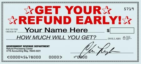 retour: Een belasting restitutie cheque die u vroeg kunt ontvangen via een belastingaangifte indienen dienst belooft dat onmiddellijke terugkeer van uw teveel betaalde belastingen in plaats van te wachten voor de regering naar aanleiding Stockfoto