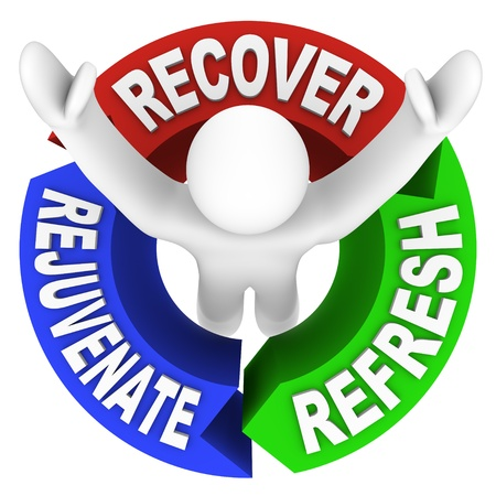 rejuvenate: The words Recover Rejuvenate and Refresh in a diagram representing the positive effects of physical therapy or a visit to a spa Stock Photo