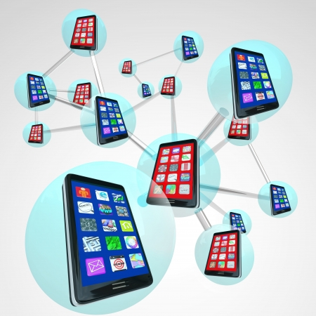 A linked network of smart phones in spheres sharing messages and apps on their touch screens with modern communication technology Imagens