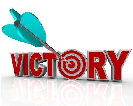 The word Victory with an arrow hitting a bullseye in the letter O symbolizing the success and triumph of achieving your goal in a challenge with competitors Stok Fotoğraf - 10680584