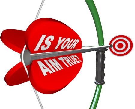 A red arrow is marked Is Your Aim True asking if you are confident and sure in your aiming on a target, challenge or goal photo