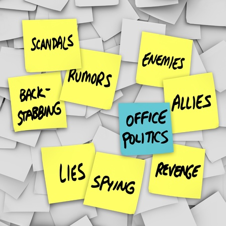 turmoil: Many yellow sticky notes with words Office Politics, Scandals, Lies, Back-Stabbing, Spying, Rumors, Enemies, Allies, Revenge Stock Photo
