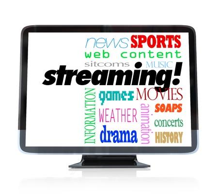ver television: Un televisor de alta definici�n con la palabra Streaming y palabras para los tipos de contenido se puede observar como pel�culas, comedias, dramas, deportes, clima, noticias, informaci�n, conciertos, m�sica y m�s